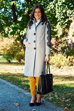 Palton LaDonna gri brodat elegant drept captusit pe interior