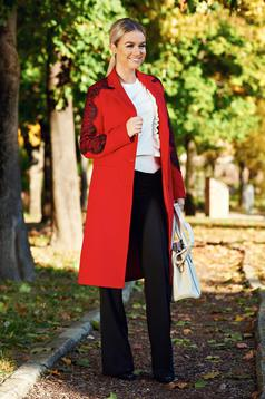 Palton LaDonna rosu brodat elegant drept captusit pe interior