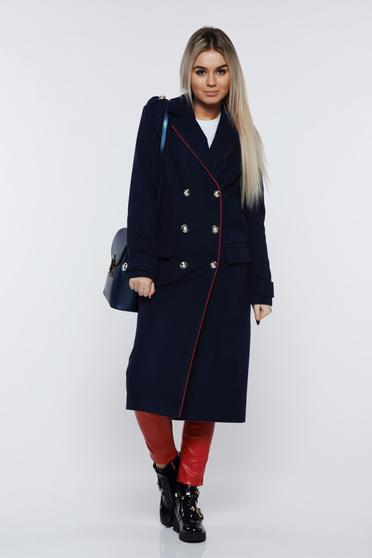 Palton LaDonna albastru-inchis casual din lana drept accesorizat cu nasturi