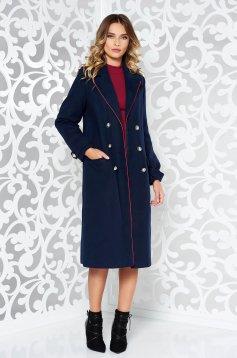 Palton Military LaDonna albastru-inchis casual din lana drept cu rand dublu de nasturi
