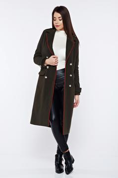 Palton LaDonna verde-inchis casual din lana drept accesorizat cu nasturi