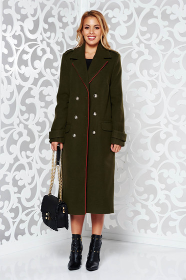Palton Military LaDonna khaki casual din lana drept cu rand dublu de nasturi