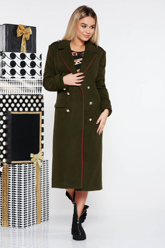 Palton LaDonna khaki casual cu un croi drept din lana captusit pe interior accesorizat cu nasturi