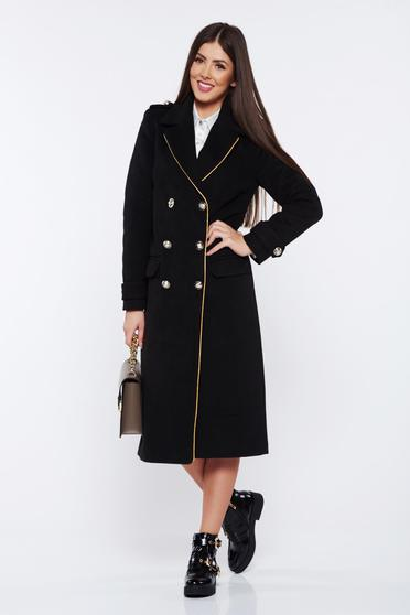 Palton Military LaDonna negru casual din lana drept cu rand dublu de nasturi