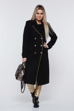 Palton LaDonna negru casual din lana drept accesorizat cu nasturi