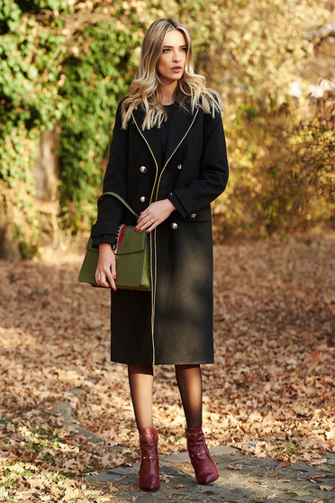 Palton LaDonna negru casual cu un croi drept din lana captusit pe interior accesorizat cu nasturi