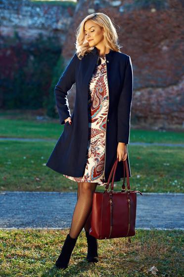 Palton LaDonna albastru-inchis casual captusit pe interior cu buzunare