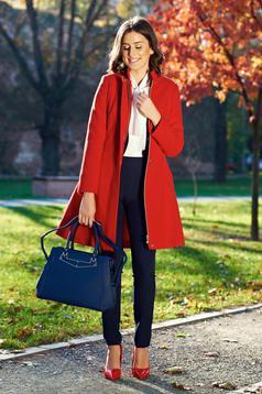 Palton LaDonna rosu casual captusit pe interior cu buzunare