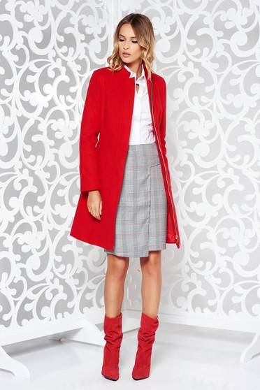 Palton LaDonna rosu casual din stofa captusit pe interior cu buzunare si umerii buretati