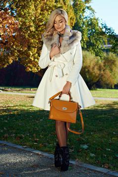 Palton LaDonna alb elegant din lana cu insertii de blana ecologica detasabile