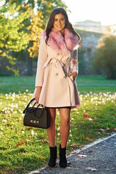 Palton LaDonna rosa elegant din lana cu insertii de blana ecologica detasabile