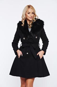 Palton LaDonna negru elegant din lana cu insertii de blana ecologica detasabile