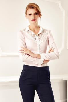 Camasa dama Fofy rosa office eleganta din bumbac cu aplicatii de dantela