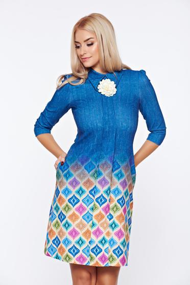 Rochie Fofy albastru-inchis office cu guler ascutit cu maneci trei-sferturi