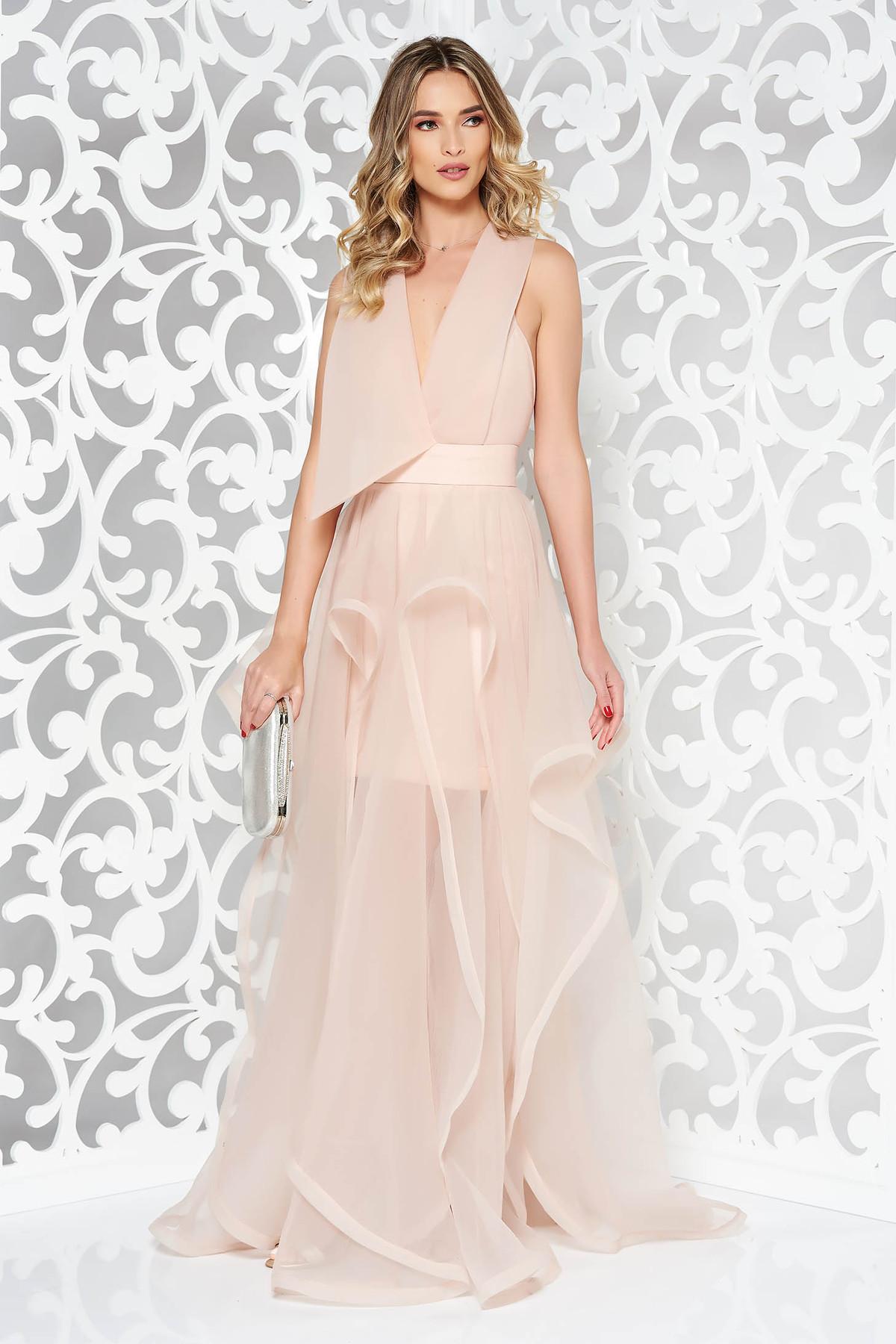 Rochie Ana Radu rosa de lux asimetrica captusita pe interior cu spatele decupat si decolteu adanc