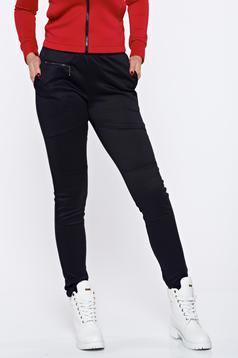 Pantaloni PrettyGirl negri casual conici cu talie medie bumbac usor elastic