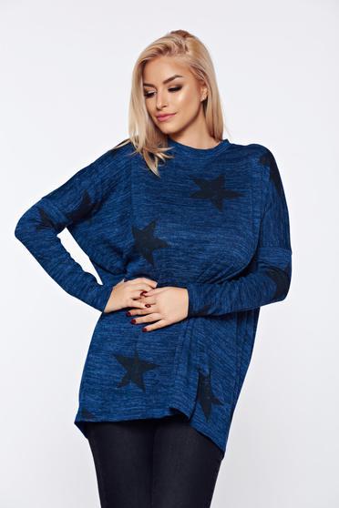 Pulover PrettyGirl albastru casual tricotat cu croi larg cu imprimeuri grafice