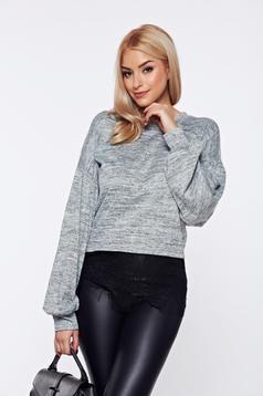 Pulover PrettyGirl gri casual tricotat cu aplicatii de dantela
