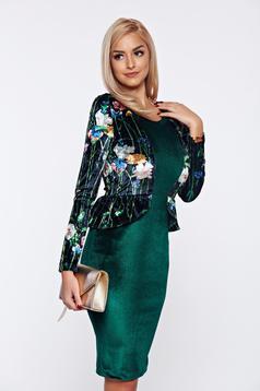 Rochie StarShinerS verde eleganta cu peplum din catifea
