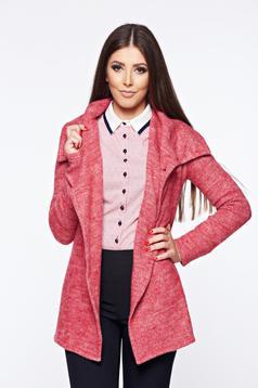 Cardigan PrettyGirl rosu casual tricotat din material moale