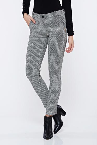 Pantaloni PrettyGirl negri office conici cu talie medie cu imprimeu grafic