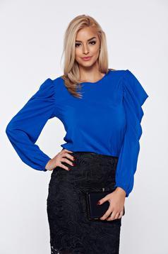 Bluza dama StarShinerS albastra eleganta din voal cu maneci bufante