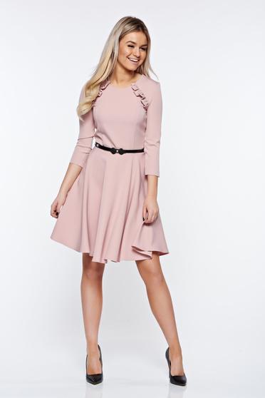 Rochie StarShinerS rosa eleganta in clos din stofa usor elastica