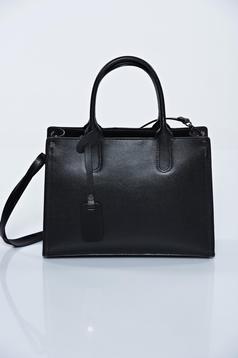 Geanta dama neagra office din piele naturala cu manere de lungime medie