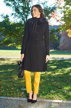 Palton LaDonna negru best impulse elegant din lana brodat captusit pe interior