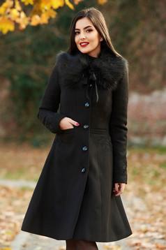 Palton LaDonna negru Best Impulse elegant din lana cu insertii de broderie captusit pe interior cu buzunare