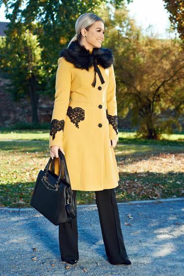 Palton LaDonna mustariu best impulse elegant din lana brodat captusit pe interior