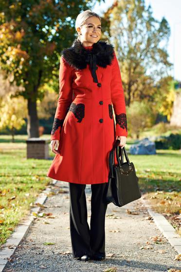 Palton LaDonna rosu best impulse elegant din lana brodat captusit pe interior