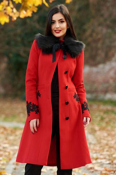 Palton LaDonna rosu Best Impulse elegant din lana cu insertii de broderie captusit pe interior cu buzunare