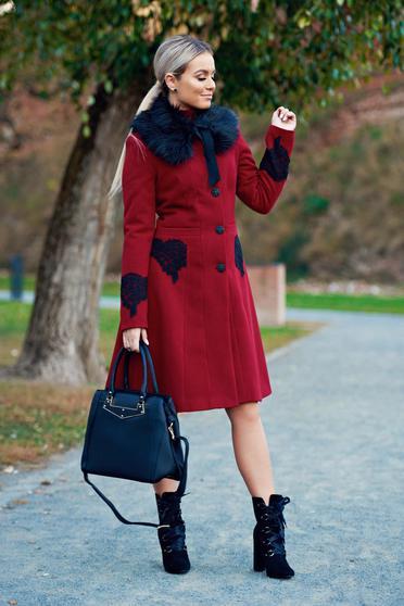 Palton LaDonna visiniu best impulse elegant din lana brodat captusit pe interior