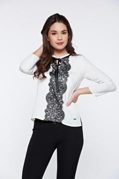 Bluza damaalba Top Secret eleganta cu croi larg cu maneci lungi