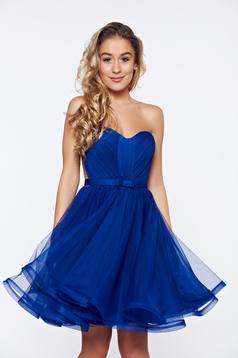 Rochie Ana Radu albastra de lux tip corset din tul cu bust buretat