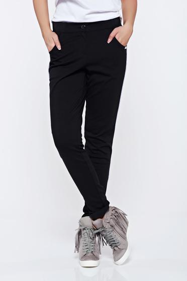 Pantaloni PrettyGirl negri casual cu buzunare cu talie medie
