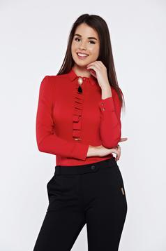 Camasa dama Fofy rosie office eleganta accesorizata cu brosa