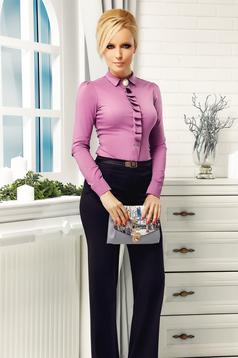 Camasa dama mov Fofy office din bumbac elastic cu guler ascutit accesorizata cu brosa