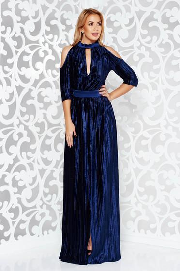 Rochie Artista albastra-inchis de ocazie petrecuta din catifea plisata cu maneci decupate si decolteu adanc