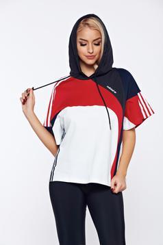 Hanorac Adidas negru sport cu dungi verticale cu gluga nedetasabila