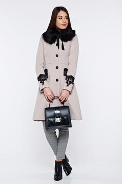 Palton LaDonna crem best impulse elegant din lana brodat captusit pe interior
