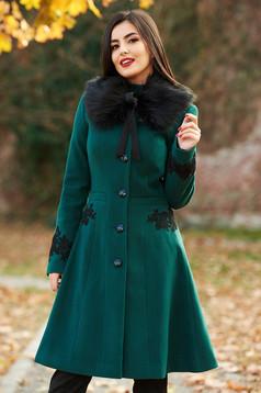Palton LaDonna verde Best Impulse elegant din lana cu insertii de broderie captusit pe interior cu buzunare