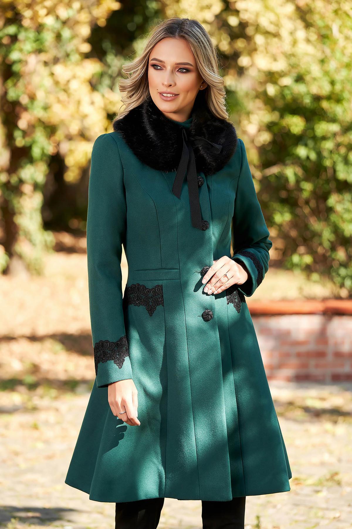 Palton Starshiners Verde Best Impulse Elegant Din Lana Cu Insertii De Broderie Captusit Pe Interior