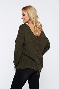 Pulover khaki casual tricotat cu spatele decupat accesorizat cu snur