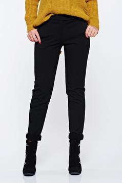 Pantaloni PrettyGirl negri office conici cu buzunare cu talie medie