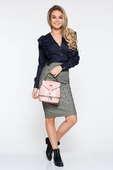 Camasa dama PrettyGirl albastra-inchis office din bumbac cu volanase