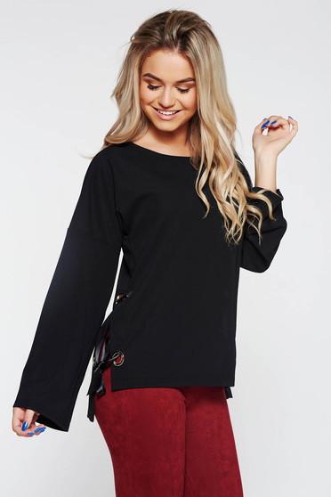 Bluza dama PrettyGirl neagra casual asimetrica cu snur