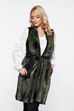 Vesta PrettyGirl verde casual din blana ecologica cu buzunare