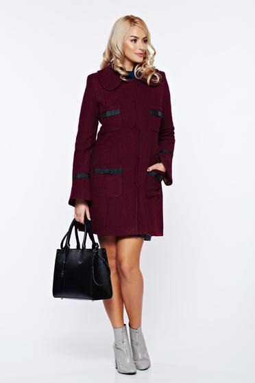 Palton LaDonna visiniu elegant din lana drept cu guler rotunjit accesorizat cu fundite
